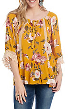 Anne French Women's Mustard Floral 3/4 Sleeve Fashion Top