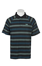 Cinch Men's ArenaFlex Black with Green and Blue Stripes Short Sleeve Polo Shirt