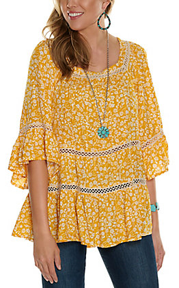 Magnolia Lane Women's Mustard with White Floral Print and Crochet Trim 3/4 Sleeve Fashion Top