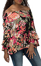 Ronnie Salloway Women's Black Floral Ruffle Off the Shoulder Fashion Shirt