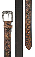 HOOey Men's Dark Brown with Scrolled and Tooled Tips Western Belt