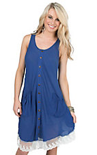 Grace of Emma Women's Blue with Brown Buttons and White Lace Hem Sleeveless Tunic Dress