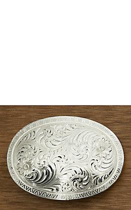 Montana Silversmiths Oval Engraved Western Belt Buckle with Geometric Trim