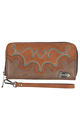 Justin Women's Tawny Boot Stitch Zip Wallet