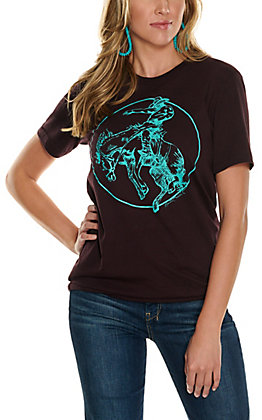 Benita Ceceille Women's Burgundy with Turquoise Bad Moon Bronc Graphic Short Sleeve T-Shirt