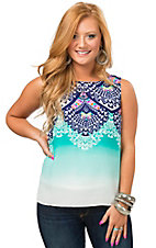 Renee C. Women's Turquoise Ombre with Navy Mixed Print Sleeveless Top
