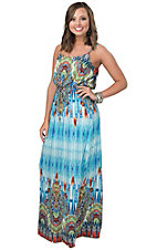 Renee C. Women's Blue & Orange Print Sleeveless Maxi Dress