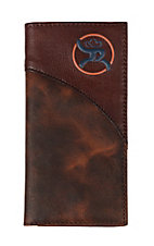 HOOey Brown Leather with Blue and Orange Logo Signature Rodeo Wallet/Checkbook Cover