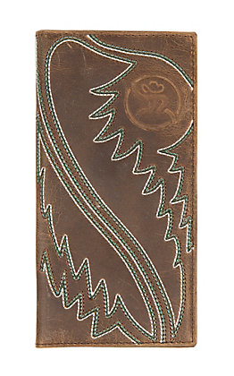 HOOey Brown Leather with Boot Stitch Pattern Rodeo Wallet/Checkbook Cover