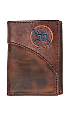 HOOey Brown Leather with Blue and Orange Logo Signature Trifold Wallet