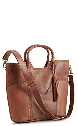 Tony Lama Brown Leather with Gold Studs Organizer Tote