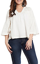 Anne French Women's Ivory Solid V-Neck Fashion Top