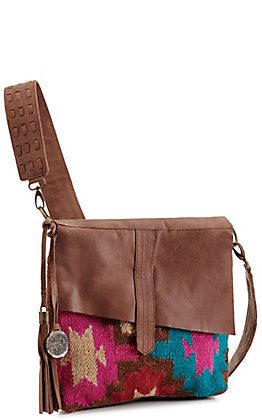 Catchfly Willow Brown Leather and Pink Serape Crossbody Purse