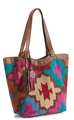 Catchfly Willow Brown Leather and Pink Serape Tote