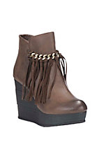 Sbicca Women's Brown with Fringe Detail Wedge Booties