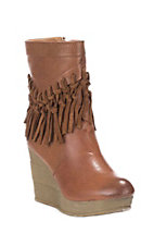 Sbicca Women's Tan with Fringe Wedge Booties