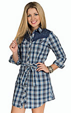 Panhandle Women's Blue Plaid with Embroidery Retro Western Shirt Dress