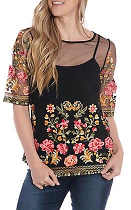 Radzoli Women's Black Sheer Flower Embroidered Fashion Top