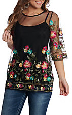 Radzoli Women's Black Sheer Flower Embroidered Fashion Top