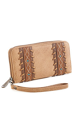Justin Women's Tan Diamond Stitch Wallet
