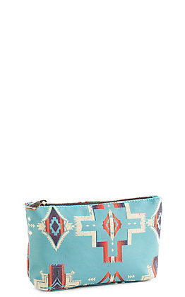 Justin Women's Small Turquoise Aztec Cosmetic Bag