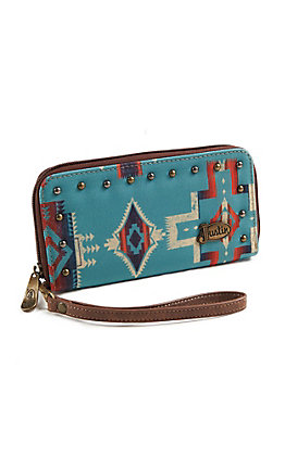 Justin Women's Turquoise Zipper Wallet