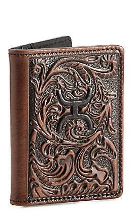 HOOey Brown Floral Embossed With Logo Card Holder Money Clip