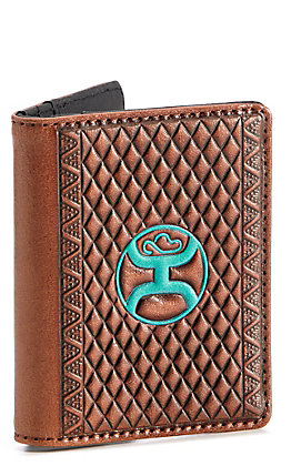 HOOey Brown Tooled With Turquoise Logo Card Holder Money Clip