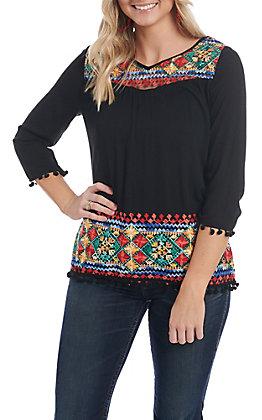 Radzoli Women's Black Embroidered 3/4 Pom Pom Sleeve Fashion Top