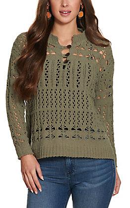 Ethyl Women's Olive Chenille Crochet Knit Long Sleeve Sweater