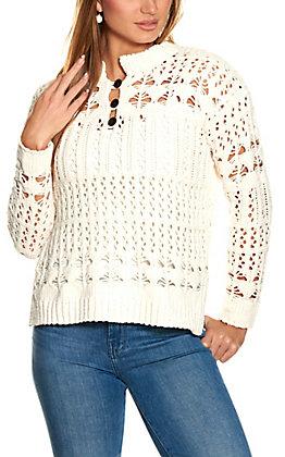 Ethyl Women's Winter White Chenille Crochet Knit Long Sleeve Sweater