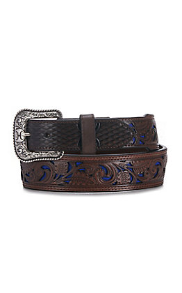 HOOey Men's Brown Tooled With Blue Inlay Western Belt