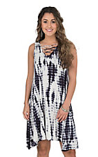 Rock & Roll Cowgirl Women's Blue Tie Dye Tank Dress