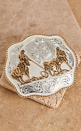 Montana Silversmiths Medium Scallop Team Roping Buckle