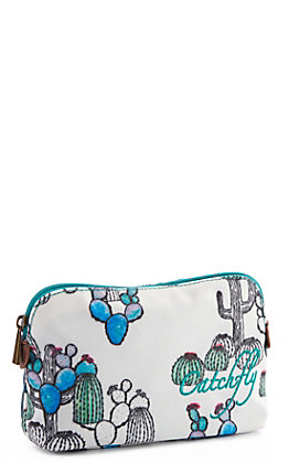Catchfly Women's Kendall White Cactus Print Small Cosmetic Bag