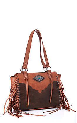 Justin Women's Cognac and Light Brown with Concho and Fringe Concealed Carry Purse