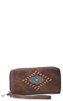 Justin Women's Cognac Brown with Whipstitching and Concho Wallet / Wristlet