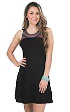 Rock & Roll Cowgirl Women's Black Knit with Bright Embroidery Sleeveless Dress
