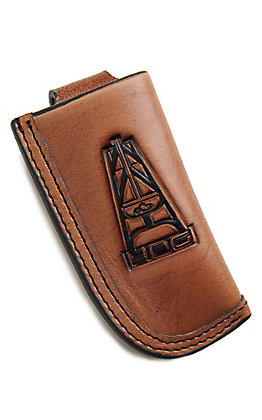 HOOey Cavender's Exclusive Brown with Hog Logo Knife Sheath