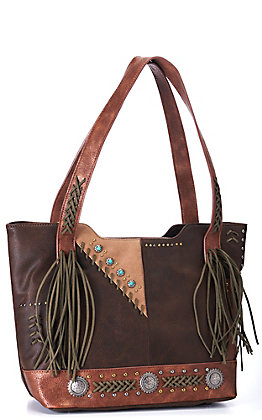 Catchfly Women's Two Toned Brown with Whipstitching and Fringe Conceal Carry Purse