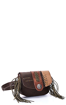 Catchfly Women's Two Toned Brown with Fringe Belt Bag