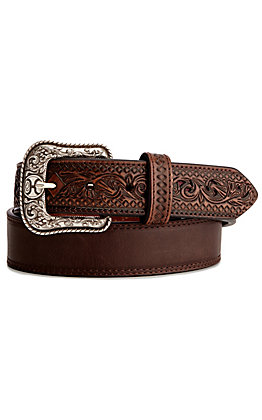 Hooey Men's Chocolate Brown with Brown Tooling and Maroon Logo Belt