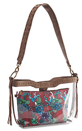 Catchfly Vinita Clear With Cactus Print Pouch Purse