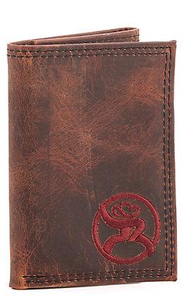 Hooey Weathered Havana Brown Maroon Roughy Logo Tri-Fold Wallet