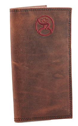 Hooey Weathered Havana Brown Maroon Roughy Logo Checkbook Rodeo Wallet