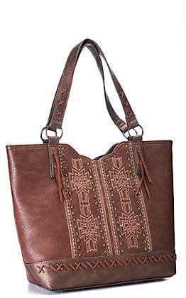 Justin Women's Chocolate Brown with Whipstitching and Aztec Embroidery Concealed Carry Purse