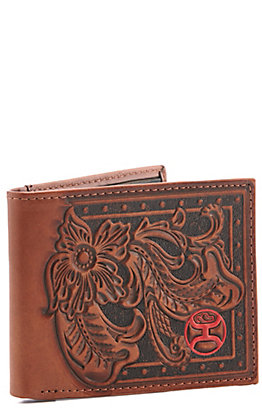 Hooey Brown with Tooling and Red Logo Bi-Fold Wallet
