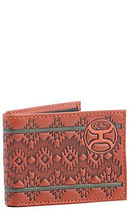 Hooey Chestnut Brown Aztec with Logo Bi-Fold Wallet