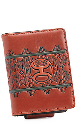 Hooey Chestnut Brown Aztec with Logo Money Clip Bi-Fold Wallet