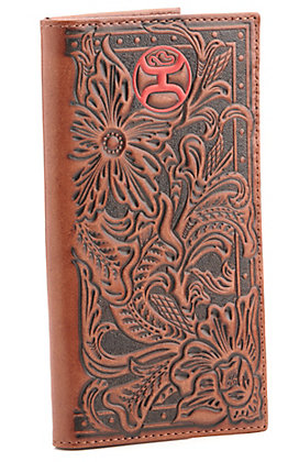 Hooey Brown with Tooling and Red Logo Checkbook Rodeo Wallet